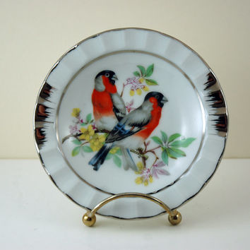Vintage Porcelain Pin Dish or Ashtray, Red Finch Birds on Branch with Yellow Flowers, Platinum Tone Trim, Made in Japan