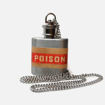 Flask Necklace 1oz - poison warning labe - Conceal under shirt or display awesomeness. Looks like normal necklace when hidden