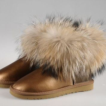 ESBON UGG Fox Crystal Women Fashion Casual Wool Winter Snow Boots Golden