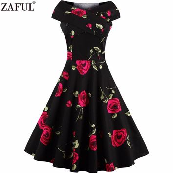 ZAFUL Elegant Rose floral Print 50s 60s Audrey Vintage Retro dress Rockabilly Swing Pin up Plus size S~4XL Party female Vestidos