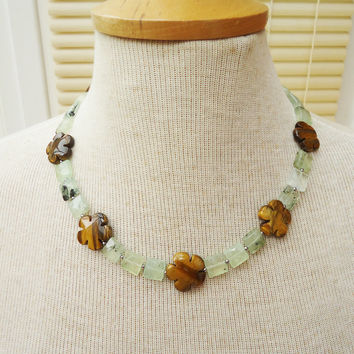 Prehnite and Tigers eye Necklace,Flower Shaped Tigers Eye Necklace,Green,Brown