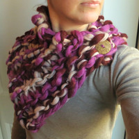 DIY Kit Knit Cowl Scarf Shawlette Wool Handmade Everything You Need