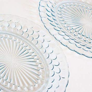 Anchor Hocking Blue Bubble Pattern Serving Plates, 12 Inch Bullseye Provincial Depression Glass Oval Platters (Pair)