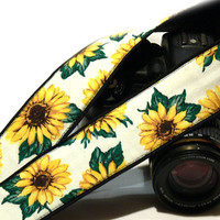 DSLR Camera Strap. Sunflowers Camera Strap. Canon Nikon Camera Strap with flowers. Women Accessories