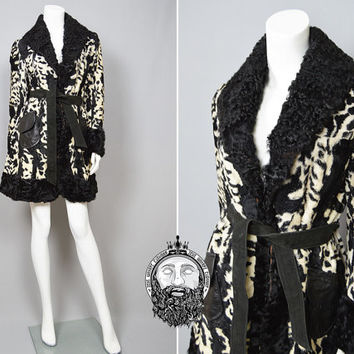 Vintage 60s LILLI ANN Black and White Faux Fur Coat Astrakhan Persian Lamb Collar Monochrome Coat Suede Belt Leather Pocket 1960s Cow Print