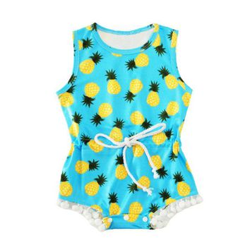 Abacaxi Kids Summer Sleeveless Pineapple Romper Newborn - 12 months Blue