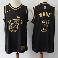 Men's Miami Heat Dwyane Wade Nike Black Gold Swingman Jersey - Best Deal Online