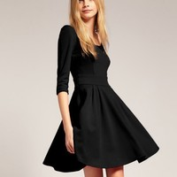 Women Scoop Slim Waist Black Mid Sleeve Autumn Polyester and Viscose A Line Mini Length Dress S/M/L@II0044b $16.99 only in eFexcity.com.