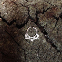 NEW! Sterling Silver Faux Septum Ring - Goddess Crown, Fake Nose Piercing Jewelry, Festival Burning Man Belly Dance Style Adornment