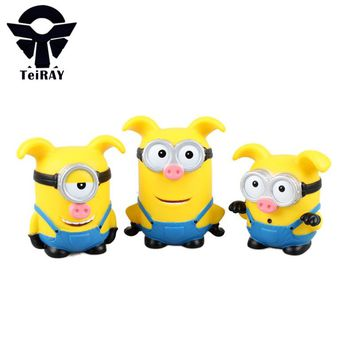 3Pcs Minions Despicable Me 2  minion cos pig toys pvc action figure baby toy 3D Eye mini puppets juguetes kids gift 8-10cm