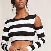 Striped Open-Shoulder Crop Top