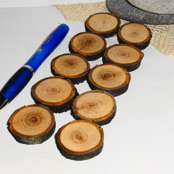Eco friendly wood slices, wooden logs, round wood discs, circle wood tags. Woodcraft, pyrography, pendants, ornaments, bottle tags, magnets