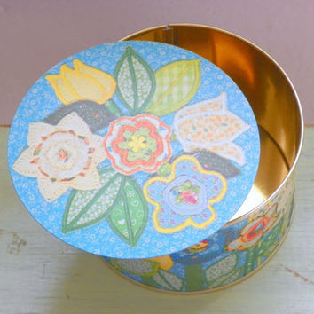 Vintage Floral Tin, Needlepoint Flower Collectible Tin,  Colorful Small Garden Tin, 1980s