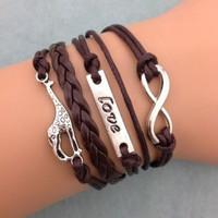 Giraffe Bracelet Love Infinity Cuff Leather Bracelet girls kids