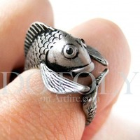Miniature Fish Animal Wrap Around Ring in Silver Size 5 to 9 available