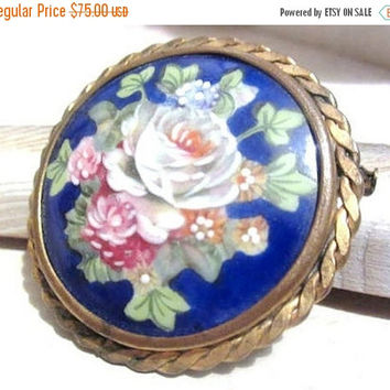 Limoges Brooch Porcelain Brooch, Pink Rose, Cobalt Blue, 1920s Art Deco Vintage Jewelry, CHRISTMAS SALE
