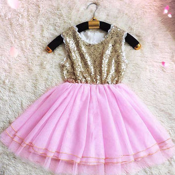 "The ""Adrienne"" Gold Sequin Pink Girls Dress"