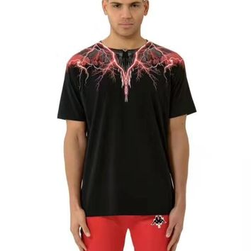 MARCELO BURLON COUNTY OF MILAN Lightning wings feather print round neck short-sleeved T-shirt