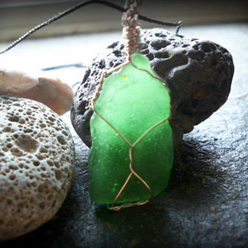 Green Sea Glass Necklace, Pendant with Silk Chain - Lake Ontario