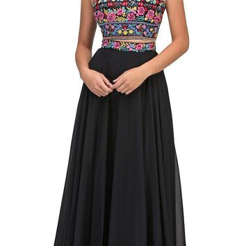 Long Chiffon Embroidered Floral Pattern Prom Gown Black 2 Piece