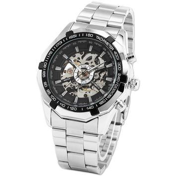 WINNER 099 Vintage Round Skeleton Dial Stainless Steel Band Men's Automatic Mechanical Watch