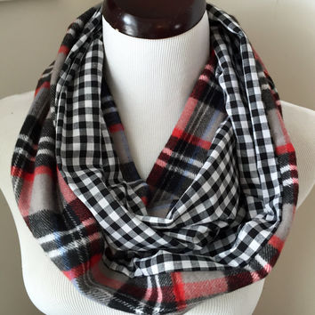 Gray Tartan Plaid and Gingham Reversible Infinity Scarf