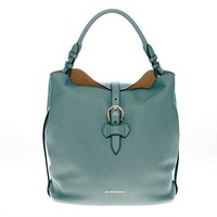 Burberry Women's Medium Buckle Detail Grained Hobo Bag Green