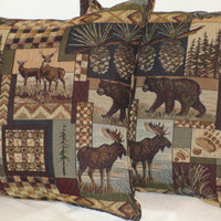 "Pillow Covers 18"" Set of Two - Rustic Lodge Wildlife Pattern"
