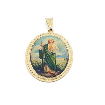 "1-2435-judas-h2 Gold Overlay Oval San Judas Photo Pendant, 1-3/4""."