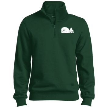 Green Hartford Whalers Inspired Embroidered 1/4 Zip Sweatshirt