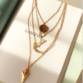 Fashion angel wings arrow fish scales hanging tablets, multi-layer exaggerated metal necklace