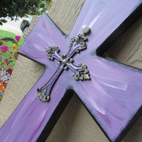 Cross Wall Hanging Purple Hand Painted Layered Cross