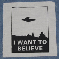 Patch, I Want To Believe - Large Back Patch, Black - xfiles x-files alien paranormal spaceship abduction spacecraft flying saucer ufo invert