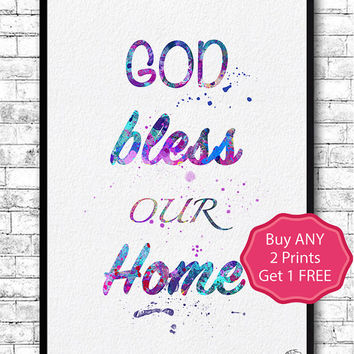 God Bless Our Home Print Watercolor Giclee Wall Art Home Decor Wall Hanging Home Wall Art Home Poster Living Room Family Watercolor Print