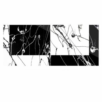 "Nina May ""Neutra Splatter"" Black White Mixed Media Luxe Rectangle Panel"