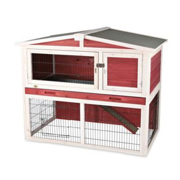 Trixie Natura Medium Peaked Roof Two-Story Small Animal Hutch in Red/White
