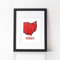 Ohio State, State Love, State Print, Ohio print, typography art, wall art, state pride, Ohio Love, rustic art, red home decor, Ohio map