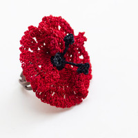 Crochet Lace Poppy Ring - Adjustable Red Poppy Ring - Statement Ring - Jewelry Handmade - Fiber Art Jewelry - Dentelle