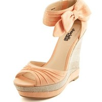 Sueded Side Bow Wedge Sandal: Charlotte Russe