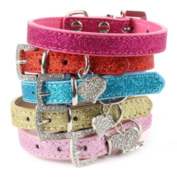 Hot Bling Crystal Pendant Leather Dog Collar, Puppy Collar & Cat Collar