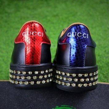 Gucci Ace With Austrian Drilling Leather Sneaker Women Shoes - Beauty Ticks