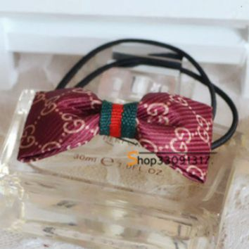 ONETOW GUCCI temperament classic cloth college wind Europe and the United States big style bow hair ring hair rope Charm wine red
