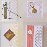 Japan inspired blank greeting card set of 4 - hollow ocean waves with knots and washi accents –Lace X Knot