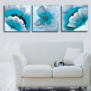 Hand Painted Turquoise Flower Oil Painting On Canvas Abstract Wall Art 3 Panel Pictures Sets Acrylic Floral Paintings 3 Piece
