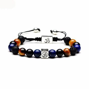 FREE!! Men's Limited Edition Lapis, Lava and Tiger's Eye Braided OM Bracelet