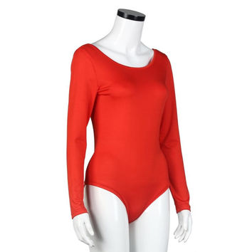 Sexy Long Sleeve Leotard overalls Red Backless Slim Bodycon Women Bodysuits Women Clothes combinaison femme #1212