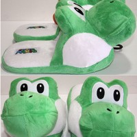 Licensed cool Super Mario Bros Japanese GREEN YOSHI ADULT Slippers PLUSH HOUSE SHOES S-M NEW