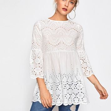 Bell Sleeve Eyelet Embroidered Peasant Top