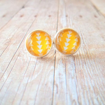 S U N S H I N E - Bright Yellow and White Triangle Geo Photo Glass Cab Circle Silver Plated Post Earrings