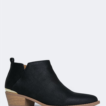 Metal Accent Low Bootie